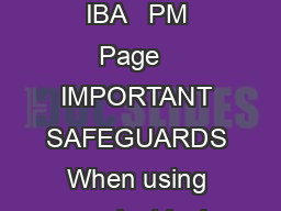 INSTRUCTION BOOKLET CEK LECTRIC NIFE CEK  IBA   PM Page   IMPORTANT SAFEGUARDS When using an electrical appliance basic safety precautions should always be followed