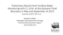 Preliminary Results from Surface Water Monitoring with C.L.
