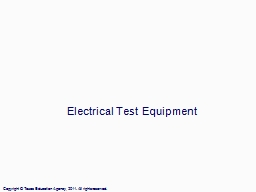Electrical Test Equipment PowerPoint PPT Presentation
