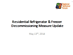 Residential Refrigerator & Freezer Decommissioning Meas