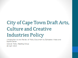 City of Cape Town Draft Arts, Culture and Creative Industri