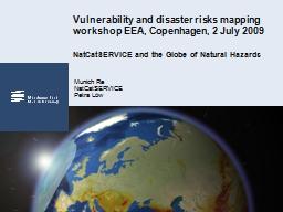 Vulnerability and disaster risks mapping workshop EEA, Cope