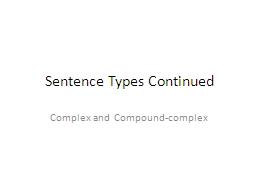 Sentence Types Continued PowerPoint PPT Presentation