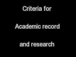 Screening Criteria for Academic record and research performance  ...