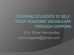 Teaching Students To Self-Study Academic Vocabulary Through