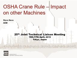 OSHA Crane Rule – Impact on other Machines