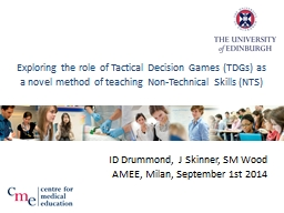 Exploring the role of Tactical Decision Games (TDGs) as a n