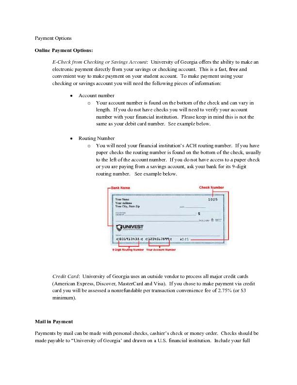 Payment Options Online Payment Options: :  University of Georgia offer