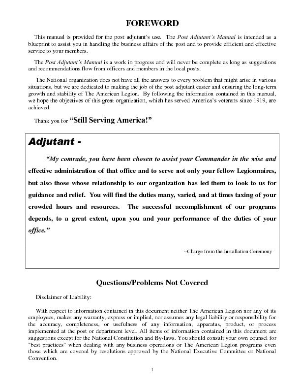 This manual is provided for the post adjutant's use.  The  ...