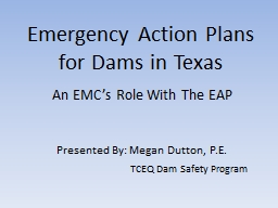 Emergency Action Plans for Dams in Texas