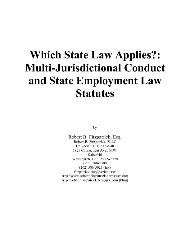 Which State Law Applies?