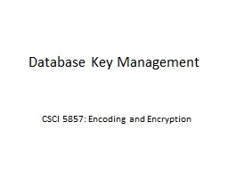 Database Key Management