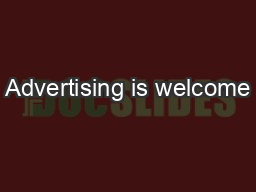 Advertising is welcome
