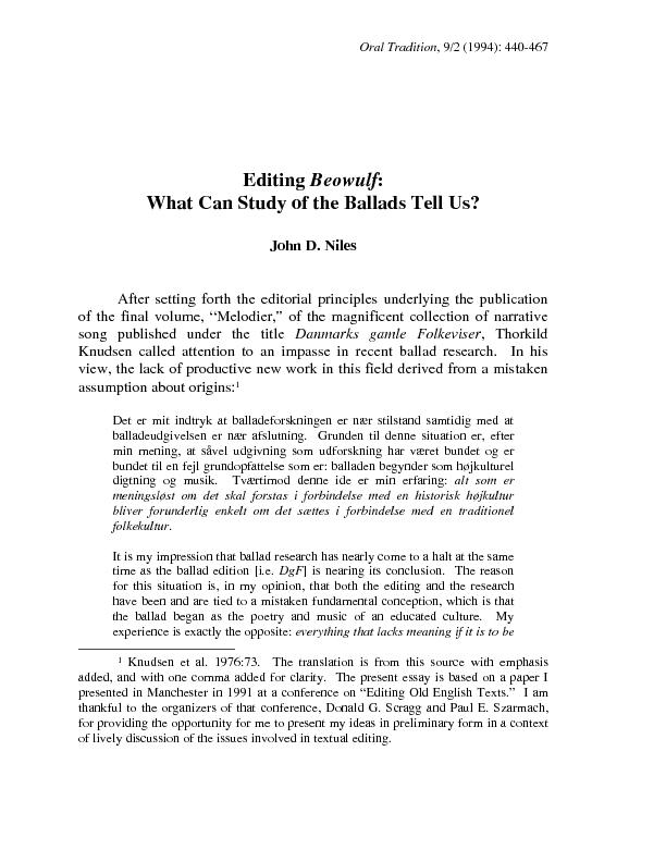 BEOWULF AND THE BALLADS 445  Albert Lord has made a similar point abou PowerPoint PPT Presentation
