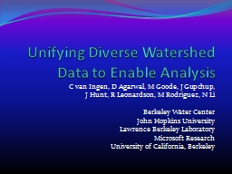 Unifying Diverse Watershed Data to Enable Analysis