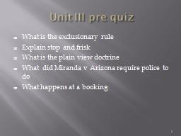 Unit III pre quiz