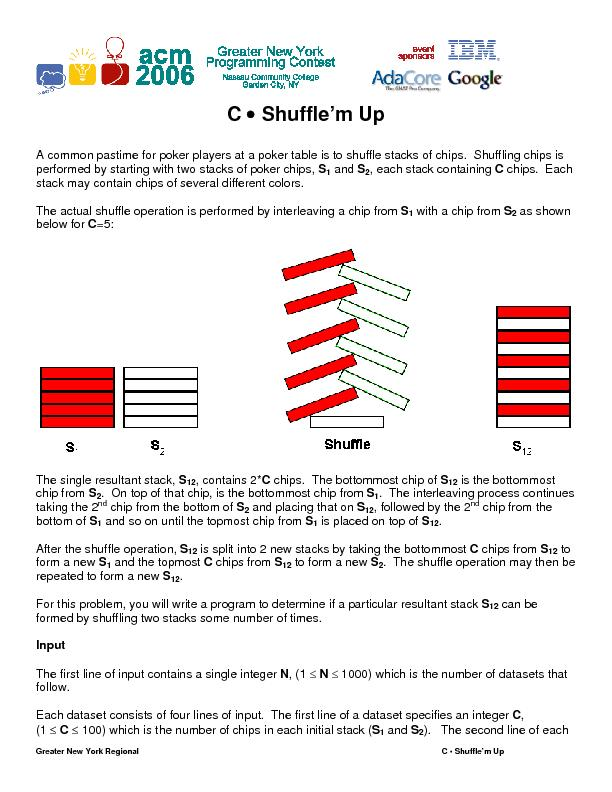 , each stack containing C chips.  Each stack may contain chips of seve