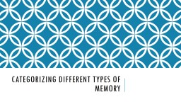 Categorizing different types of memory