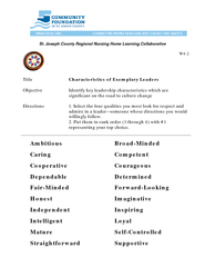 St Joseph County Regional Nursing Home Learning Collaborative W Title Character