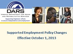 Supported Employment Policy Changes