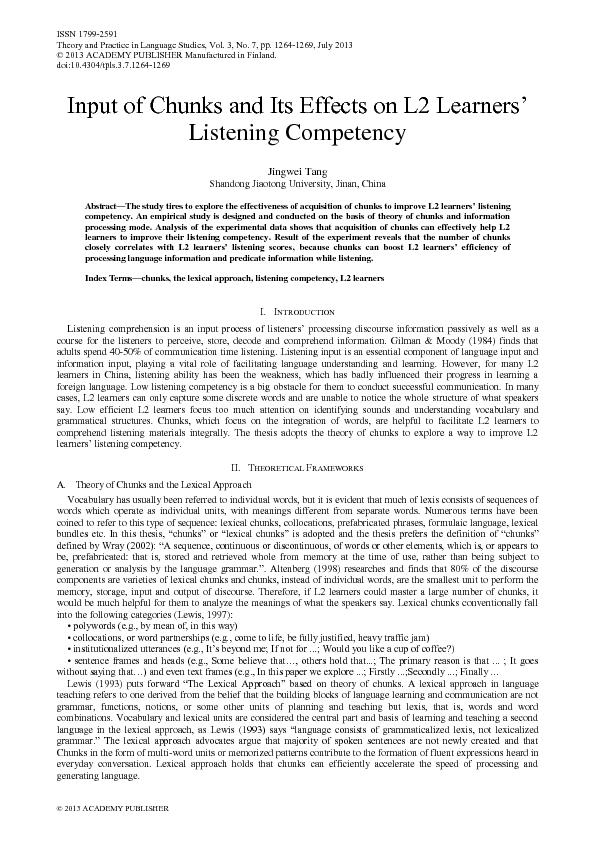 ,nSut of &hunks anG ,ts Effects on L2 Learners' Listening Compe