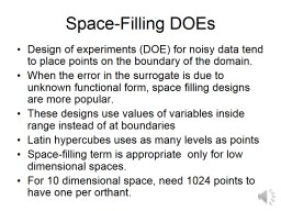 Space-Filling DOEs PowerPoint PPT Presentation