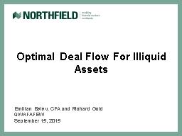 Optimal Deal Flow For Illiquid