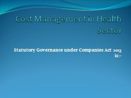 Cost Management in Health Sector