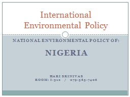 National Environmental Policy of: PowerPoint PPT Presentation