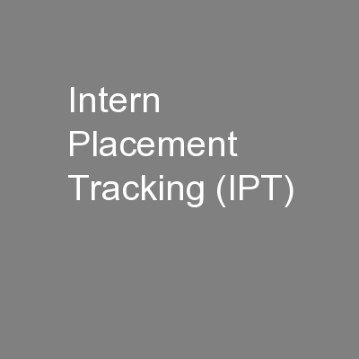 Intern Placement Tracking (IPT)