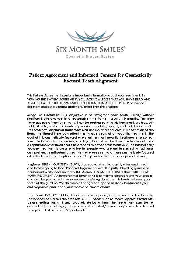 Patient Agreement and Informed Consent for Cosmetically