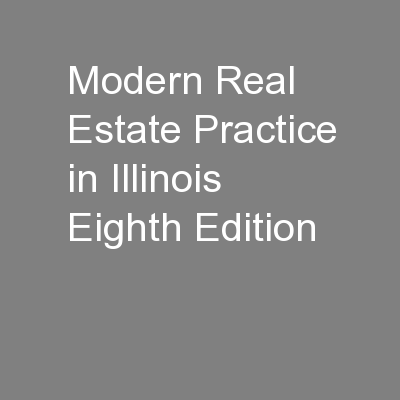 Modern Real Estate Practice in Illinois Eighth Edition
