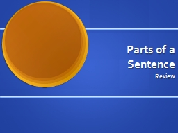 Parts of a Sentence PowerPoint PPT Presentation