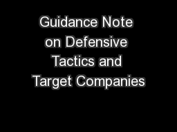 Guidance Note on Defensive Tactics and Target Companies