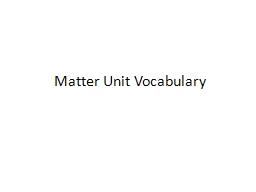 Matter Unit Vocabulary