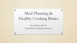 Meal Planning &
