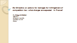 EU Directive on actions for damages for