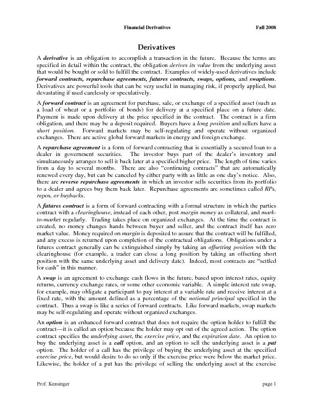 Financial Derivatives Fall 2008  Prof. Kensinger  page 1  is an obliga