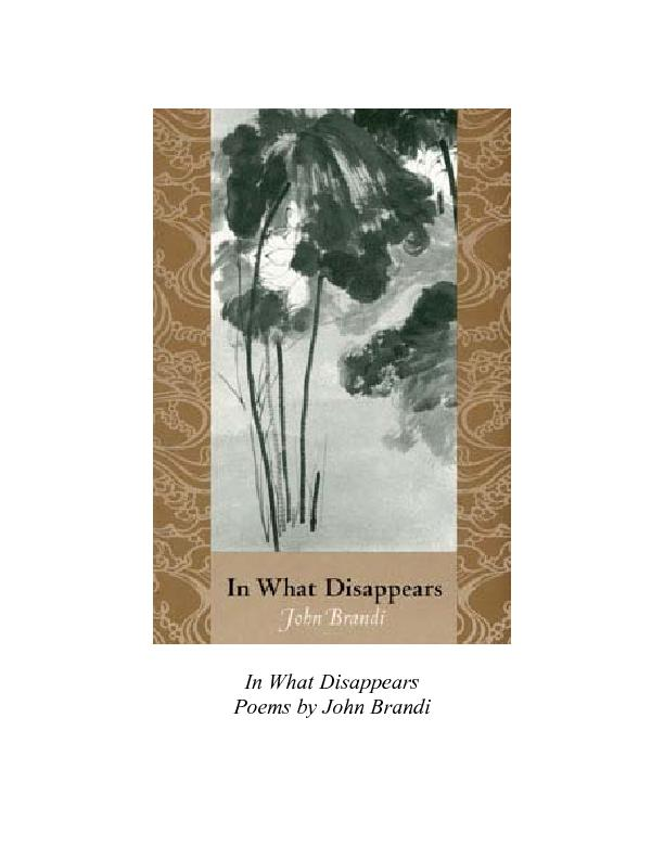 In What Disappears Poems by John Brandi