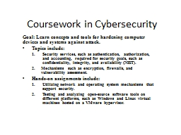 Coursework in Cybersecurity PowerPoint PPT Presentation