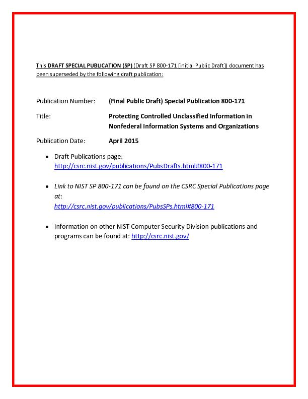 is DRAFT SPECIAL PUBLICATION (SP)(Draft SP 800171 [initial Public Draf