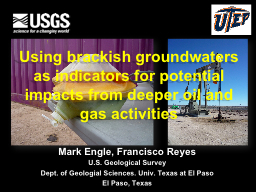 Using brackish groundwaters as indicators for potential imp