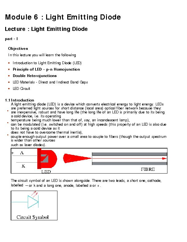 Module 6 : Light Emitting DiodeLecture : Light Emitting Diodepart - I PowerPoint PPT Presentation