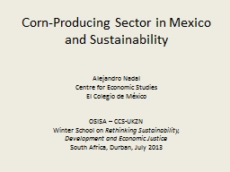 Corn-Producing Sector in Mexico and Sustainability PowerPoint PPT Presentation
