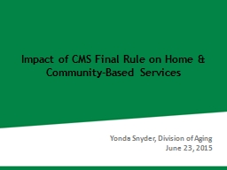Impact of CMS Final Rule on Home & Community-Based Serv PowerPoint PPT Presentation