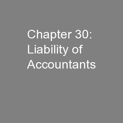 Chapter 30: Liability of Accountants