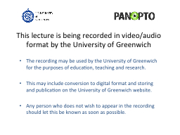 This lecture is being recorded in video/audio format by the