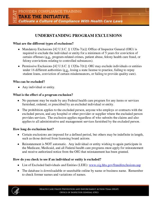 UNDERSTANDING PROGRAM EXCLUSIONS What are the different types of exclu