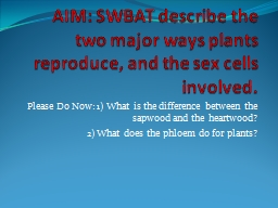AIM: SWBAT describe the two major ways plants reproduce, an