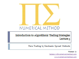 Introduction to Algorithmic Trading Strategies